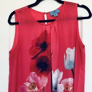 Nordstrom CeCe Sleeveless Coral/Floral Blouse